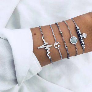 Boho Silver Heart Chain Beaded Charm Bracelet Set